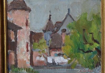 Jean-Jacques Lüscher: Hof auf der Gartenseite des Wettsteinhauses, o.J, Öl auf Karton, Foto: Atelier Rohr, Bern