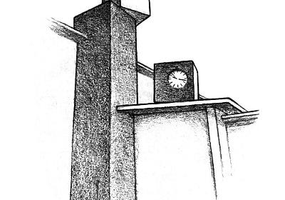 Urs Aeschbach, Uhrenwürfel, 2014, Schulhaus Niederholz, Illustration © Stephan Liechti