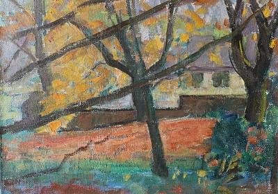 Jean-Jacques Lüscher: Herbststimmung im Garten des Wettsteinhauses, 1948, Öl auf Leinwand, Foto: Atelier Rohr, Bern